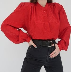 Vintage Marks and Spencer Red Satin Blouse Size S
